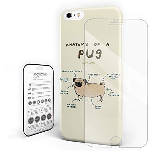 Compatible with iPhone 7 Plus Case and iPhone 8 Plus Case, Hard PC Back Phone Case with Tempered Glass Screen Protector Anatomy of A Pug Shockproof Protective Cover -