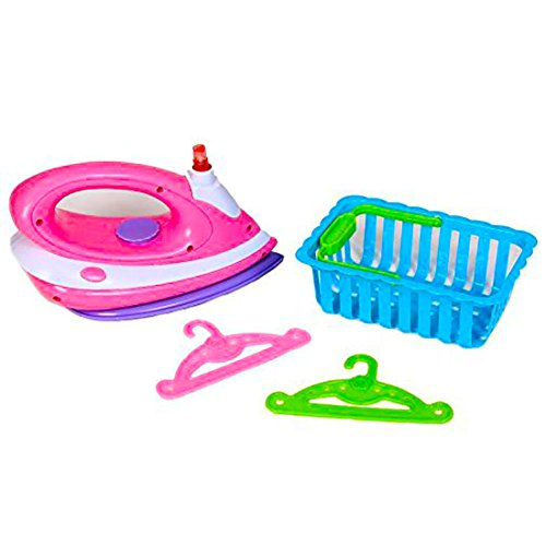 dazzling toys Toy Iron Set | Happy Family Kids Pretend Play Ironing Set Includes Ironer, Laundry Basket, and Accessories. ()