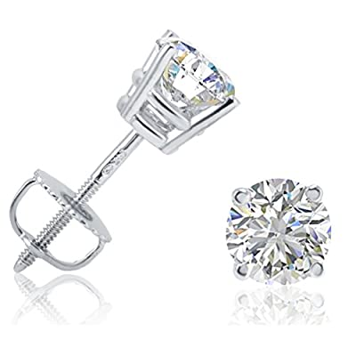 AGS Certified 1ct TW Round Diamond Stud Earrings in 14K Gold with Screw Backs by Amanda Rose Collection