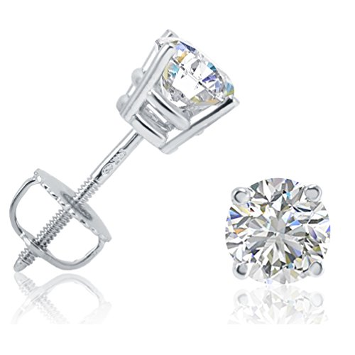 White Gold Diamond Certified Stud (AGS Certified 1ct TW Round Diamond Stud Earrings in 14K White Gold with Screw Backs)