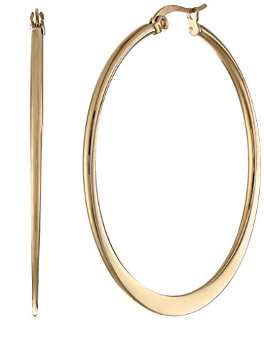 Amazon Essentials Yellow Gold Plated Stainless Steel Flattened Hoop Earrings (40mm)