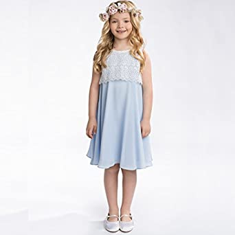 Formal A-line Lace Chiffon Knee Length Girls Dresses 1-12 Year Old Blue Size 10
