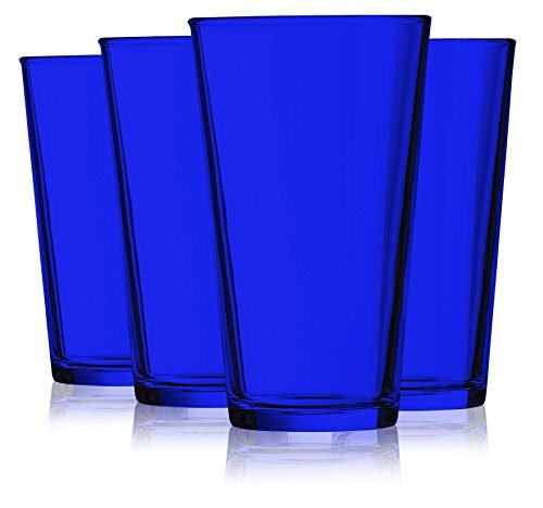(Cobalt Blue colored Pint glasses set of 4 additional vibrant available)