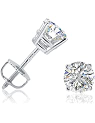AGS Certified 1ct TW Round Diamond Stud Earrings in 14K Gold with Screw Backs