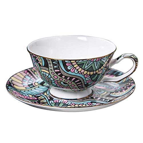 (ACOOME Tea Cup and Saucer Set-6.8oz Bone China Bohemian Style Teacup Fine Dining and Table Decor (Black))