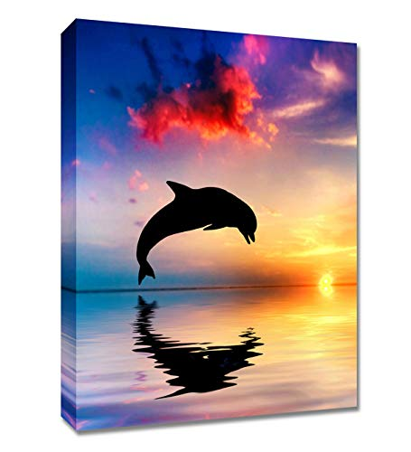 Canvas Wall Art Dolphin Painting - 12x16 inches Sunset Blue and Yellow Ocean Seascape Wall Decor for Home Beach Theme Canvas Painting Ready to Hang with Framed and Hooks Wall Pictures for Living Room