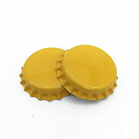 IGOGO Crown Bottle Caps Double Both Sided Colors Craft Linerless 2 sided Yellow (Pack of 100)