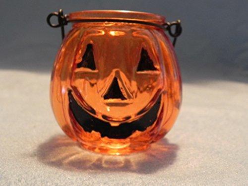 Biedermann & Sons Glass Jack O' Lantern Tealight Holders (Box of 6), (Halloween Tea Light Holder)