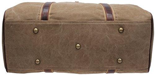 Iblue Canvas Weekender Duffel Tote Leather Trim Travel Luggage Sports Gym Bag 21in #i521 (XL, khaki) by iblue (Image #6)