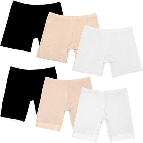 Elcoho 6 Pack Women Under Dress Shorts Safety Pants Boyshort Yoga Bike Shorts -