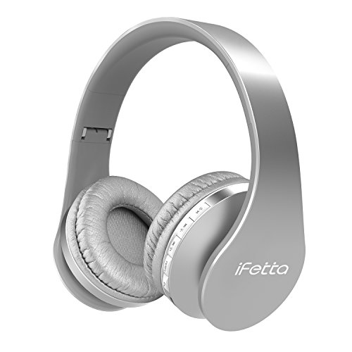Silver Folding Headphone (Ifecco Bluetooth Headphones, 4 in 1 Bluetooth Foldable Over-ear Headsets with Micro Support SD/TF Card for Bluetooth Devices (Silver))
