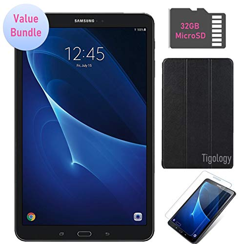 Samsung Galaxy Tab A 10.1-inch Touchscreen (1920x1200) Wi-Fi Tablet Bundle, Octa-Core 1.6GHz Processor, 2GB RAM, 16GB Memory, 32GB MicroSD Card, Tigology Case, Screen Protector, Android OS (Samsung 10 Inch Tablet 4 Case)