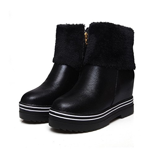 Soft Round Zipper High Allhqfashion Black Closed Solid Women's Heels Boots Material Toe 0OwaCq