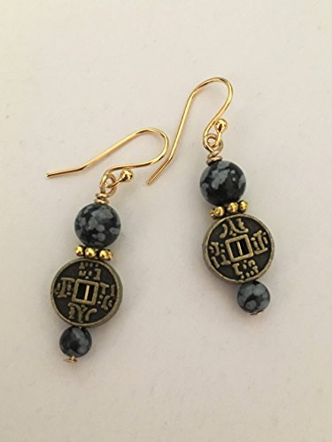 - Chinese Good Fortune Symbol Gemstone Earrings Gold Plated Ear Wires