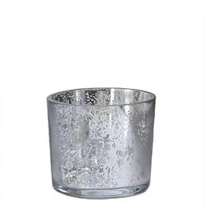 Gilded Barn Silver Mercury Barrel Votive, 3.5 x 2.5-Inches