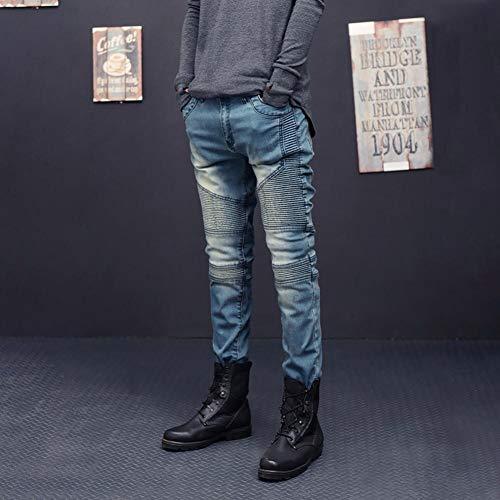 Pantalones ♚ Vaqueros Skinny Absolute con Rotos de Azul fit Pliegues Stretch Mezclilla Pantalones Slim Hombre y para Sueltos 8A0qH8