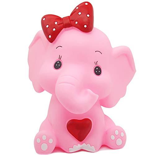 H&W Cartoon Elephant Coin Bank(B), Money Box, Piggy Bank, Best Gift Kids, Girls, Pink (WK3-D3) ()