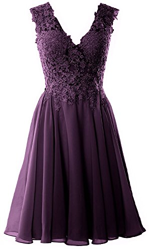 MACloth V Neck Prom Dress Short Lace Gown Homecoming Formal Plum Gorgeous Cocktail xnUpr5xO