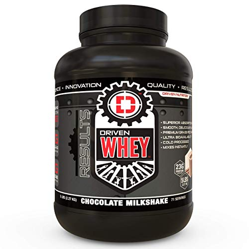 Driven WHEY- Grass Fed Whey Protein Powder: Delicious, Clean Protein Shake- Improve Muscle Recovery with 23 Grams of Protein with Added BCAA and Digestive Enzymes (Chocolate Milkshake, 5 lb)
