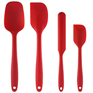 Silicone Spatula set : U-Taste 480ºF Heat-Resistant Spatula - One Piece Seamless Design, Non-Stick Silicone Rubber with Reinforced Stainless Steel Core (4 Piece Set, Red)