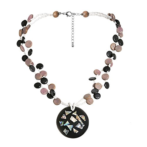 Beachy Abalone Shell Mosaic Medallion Natural Wood Strands Necklace
