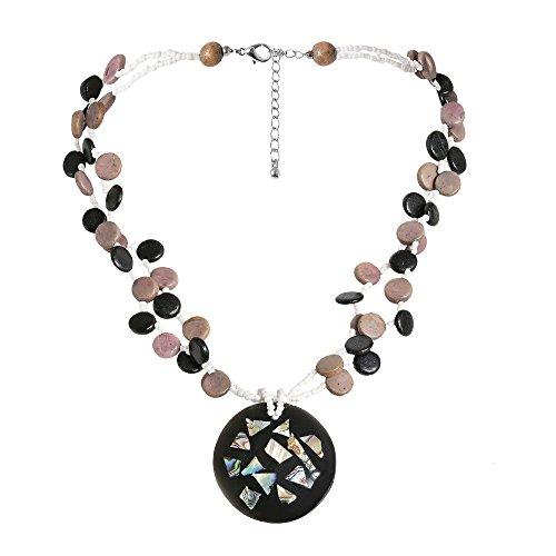 Beachy Abalone Shell Mosaic Medallion Natural Wood Strands -