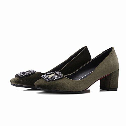 Carolbar Mujeres Rhinestones Square Toe Mid Heel Dress Bombas Zapatos (6.5, Verde Oscuro)