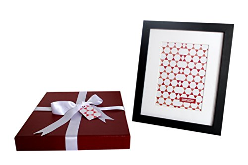 8x10 Black Wood Photo Frame in Fancy Gift Box | Display pictures 5x7 inch with Mat or 8x10 without Mat | No Wrapping Necessary | Gift Box Size - 10x 12x1.5 in (Red Canvas)
