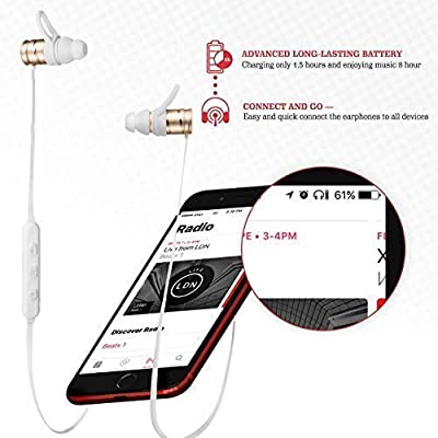 Wireless Bluetooth Earbuds — Sports Earbuds with Microphone HD Stereo Sound — Sweatproof Headphones IPX5 — Magnetic Earbuds for Gym Running — Lightweight Wireless Earphones for Women Men