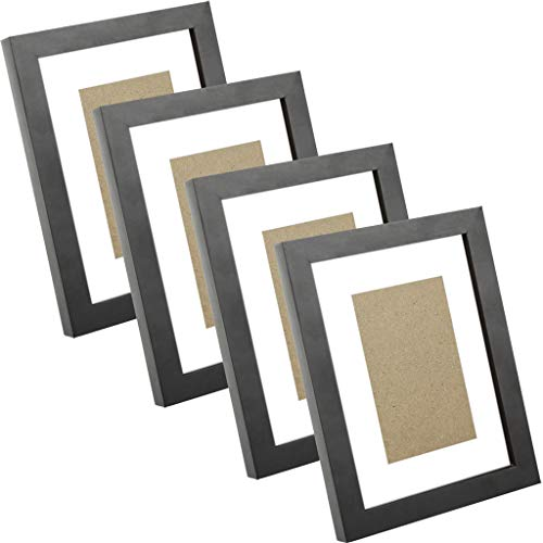 4 Pack Nature Wood 5x7 Black Picture Frames, Display Photoes 4x6 5x7, Wall Hanging and Table (Matted Nature Picture Art)