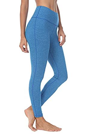 QUEENIEKE Womens Yoga Pants Mid-Waist Sports Leggings Tummy Control Workout Pants with Pocket for Running Fitness Yoga Blue Stripes XS