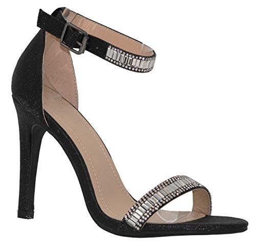 MVE Shoes Women's Shimmer Heeled Sandals - Sexy Stilleto High Heels - Open Toe Ankle Strap Sandals, pictor-1 Black 10 (Sexy Shoes For Women With Big Feet)