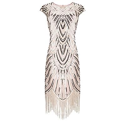 BelinlaAny Women's 1920s Gatsby Retro Diamond Sequined Embellished Fringed Flapper Dress
