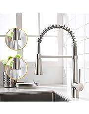 AIMADI Kraan keuken mengkraan keukenkraan douche uittrekbare spiraalveerarmatuur keukengootsteen armatuur vaatwasbak armatuur geborsteld nikkel