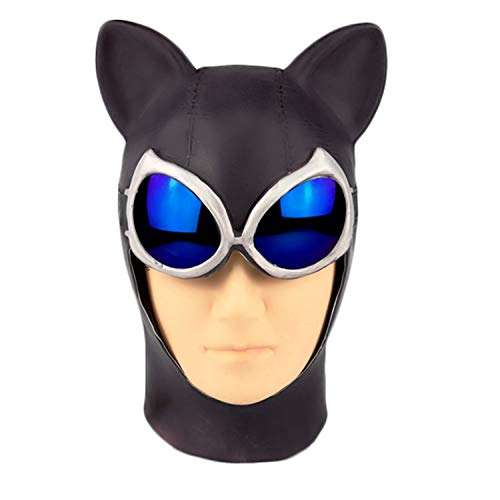 Trippy Lights Catwoman Halloween Latex Teen Adult Mask with Goggles