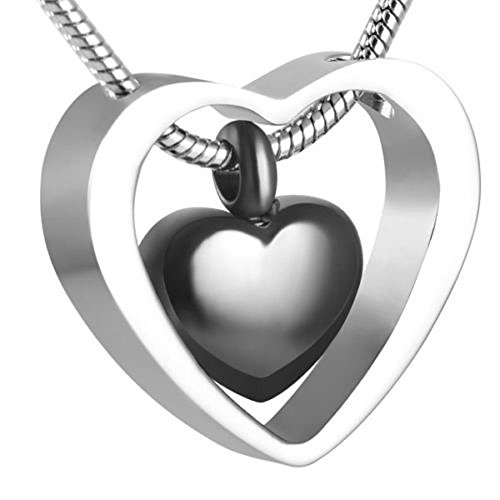 Armyshop Black Heart Charm Stainless Steel Cremation Pendant Necklace Memorial Ash (Ash China Cabinet)