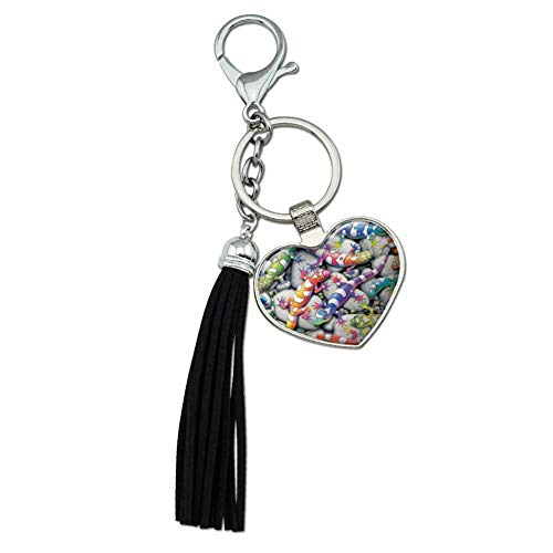 (Graphics and More Rainbow Colorful Geckos Lizards Chrome Plated Metal Heart Leather Tassel Keychain)