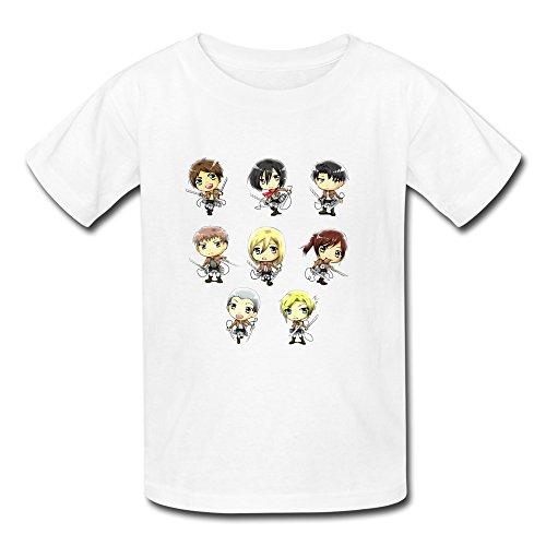 Geek O Neck Shingeki No Kyojin Kids Boys And Girls T-Shirt White Size XL