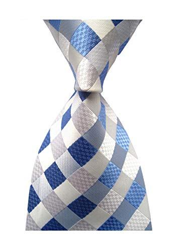 Secdtie Men's Classic Checks Light Blue Jacquard Woven Silk Tie Necktie