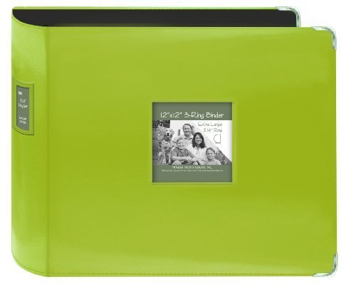 T-12JF/C Jumbo 3-Ring Sewn Leatherette Frame Cover Memory Book Binder, Lime Green by Pioneer Photo Albums ()