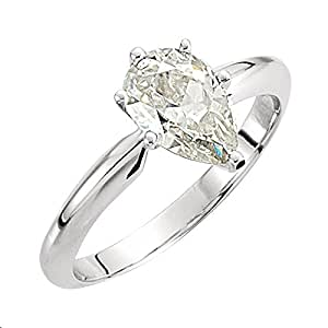 Gorgeous! Women's 14k White-gold (1 CT) Pear Shape Moissanite Solitaire Engagement Ring