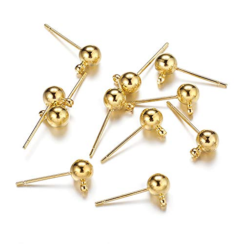 Craftdady 100pcs/50 Pairs Gold Plated Brass Ball Post Ear Studs 15x5mm with 1.5mm Loop Earring Making Findings Components