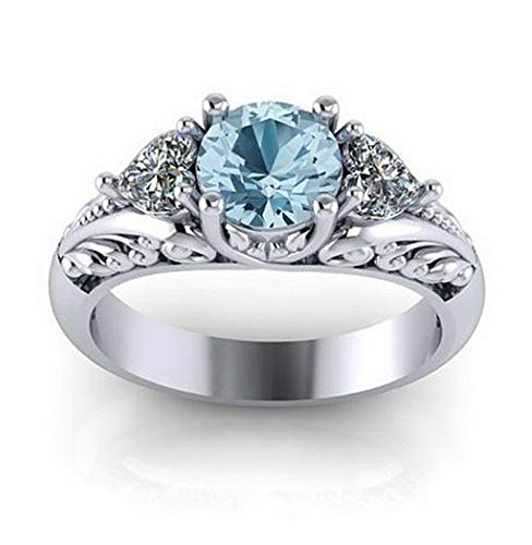 Crookston 925 Silver Aquamarine Gemstone Ring Jewelry Women Wedding Party Gift Size 6-10 | Model RNG - 15159 | ()