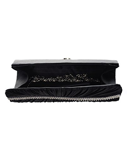 NYFASHION101 Shoulder Ruffled Lined Satin Evening Wavy Bag Row Black Clutch Rhinestone rqgrCWwS
