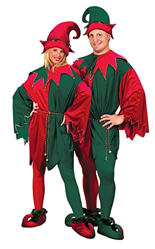 Elf Mascot Jumpsuit Adult Unisex Costumes (UHC Elf Outfit Holiday Theme Party Fancy Dress Adult Christmas Costume, OS)