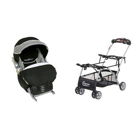 Baby Trend Flex Loc Infant Car Seat,Phantom with Universal Double Snap n Go Stroller