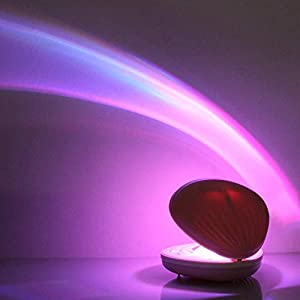 Rechargeable Shell-Shaped Rainbow Projector, ANGTUO LED Colorful Lamp Romantic Rainbow Perfect Gift for Wife, Girl, Valentine's Day, Children's Day, Wedding Anniversary