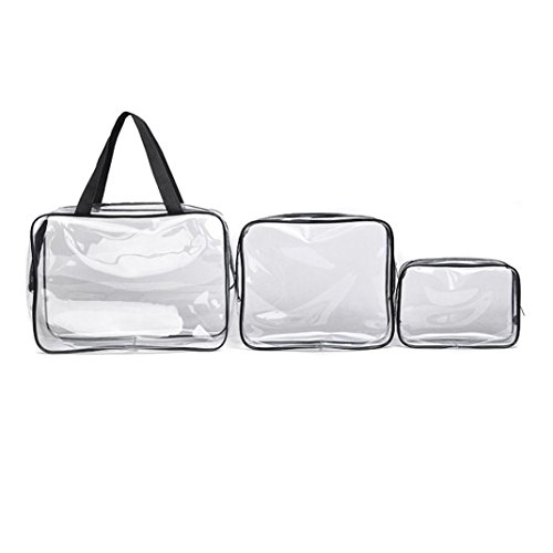 Hunputa 3 in 1 Makeup Bags & Cases Plastic Travel Tolietry Bag Clear PVC Tolietry Travel Bag Brushes Organizer for Men and Women Travel Business - For Your Face Shape Sunglass