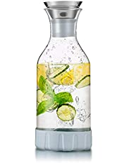 WOQO Wasserkaraffe, Karaffe,Wasserkrug Untersetzer Reinigungsbürste Glaskanne(Glaskrug ca 1.5L)