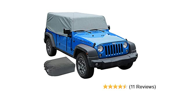 iiSPORT Water-Resistant Jeep Wrangler JK Unlimited 2 Door Cab Cover 1-Year Warranty 100/% UV Protection Breathable SUV Car Cover Fit 2007-2018 Models Over Installed Top